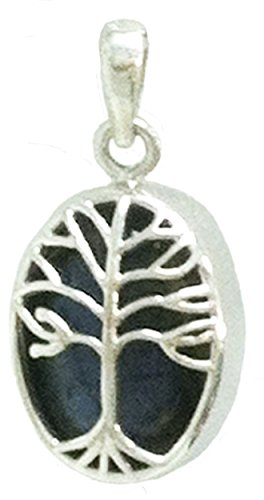Tree of Life Sterling Silver Healing Stone Pendant Double-Sided (Kyanite Moonstone Necklace)