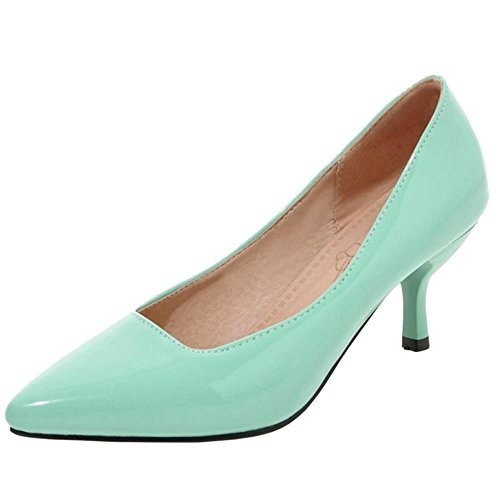 TAOFFEN Women Solid Thin Heel Court Shoes Green
