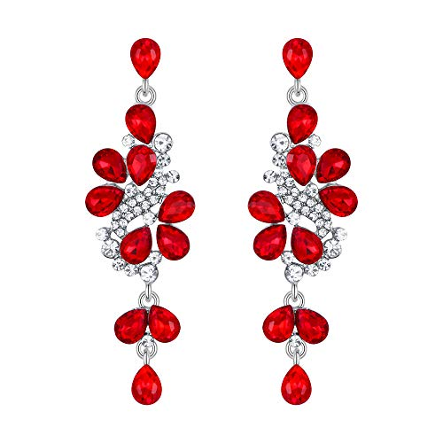 (BriLove Wedding Bridal Dangle Earrings for Women Crystal Cluster Teardrop Leaves Dangle Earrings Ruby Color Silver-Tone)
