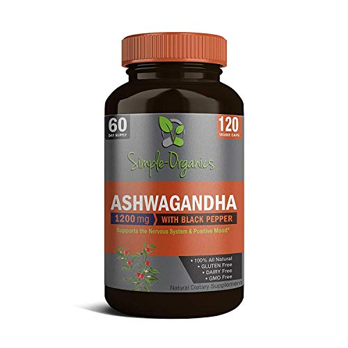 Organic Ashwagandha 1,200mg with Black Pepper Extract, 120 Vegan Capsules::100% Pure Natural Supplement for Stress…