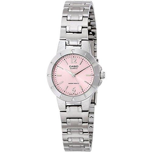 Casio LTP-1177A-4A1EF Ladies Watch Quartz Analogue Pink Dial Silver Steel Strap