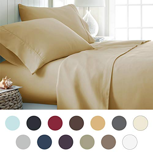 ienjoy Home Hotel Collection Luxury Soft Brushed Bed Sheet Set, Hypoallergenic, Deep Pocket, King, Gold by ienjoy Home (Image #8)