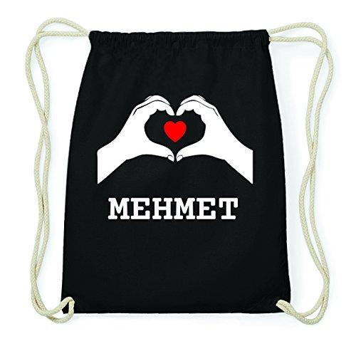 JOllify MEHMET Hipster Turnbeutel Tasche Rucksack aus Baumwolle - Farbe: schwarz Design: Hände Herz