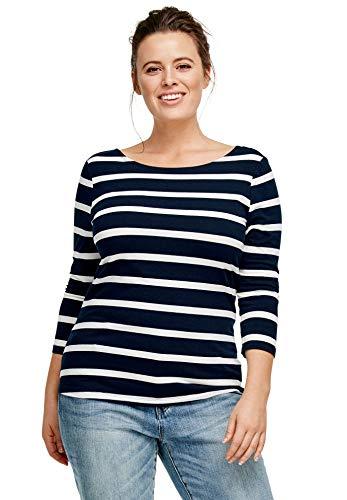 - Ellos Women's Plus Size Striped Boatneck Tee - Navy/White Stripe, 10/12