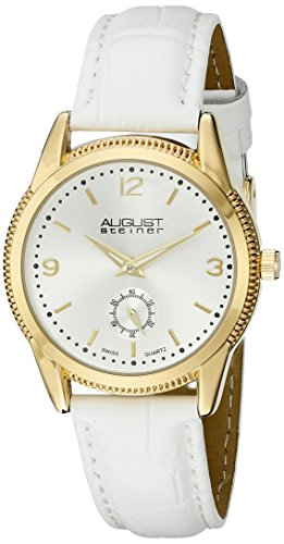 (August Steiner Women's AS8021WTG Yellow Gold Swiss Quartz Watch with Silver Sunray Dial and White Leather Strap)