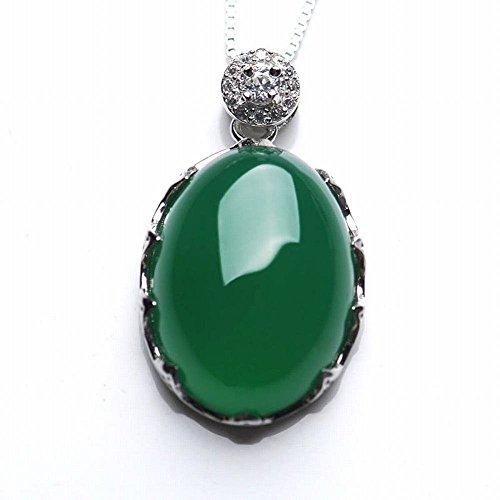 shoushi Green jade oval pendant Silver green jade pendant,green,One size - Oval Green Jade Pendant