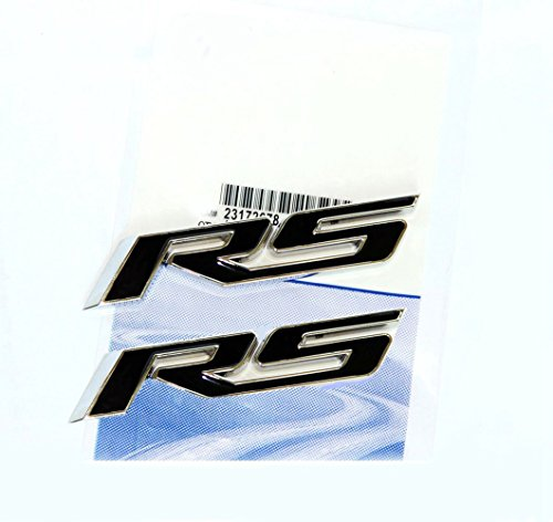 Yoaoo 2x OEM Black Rs R S Emblems Badge Sticker 3D Logo Allloy for Camaro Gm Series Black