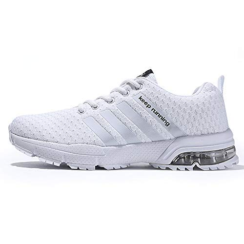 XIDISO Mens Womens Running Shoes Air Cushion Sneakers Lightweight Athletic Tennis Sport Shoe for Men White (Best Men's Walking Shoes With Arch Support)
