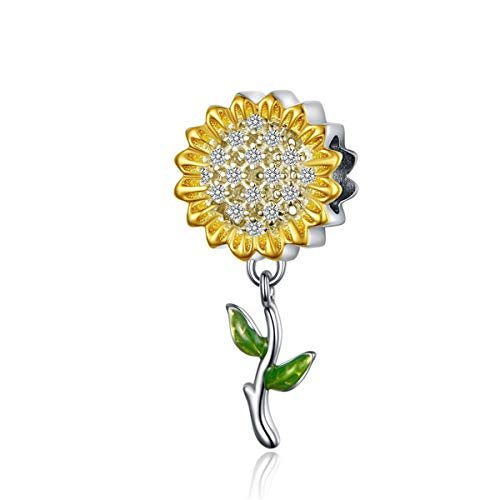 BAMOER Women Gift 925 Sterling Silver Sunflower Charms with CZ Pendant fit Necklace Bracelet Summer Style Jewelry Lucky Charms Sunflower Charm 925
