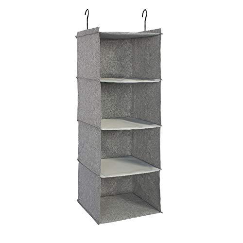 IsHealthy Hanging Closet Organizer, 4-Shelf Cotton Linen Cloth Hanging Shelf, Easy Mount Collapsible Foldable Hanging Closet Shelves Storage Organizer with 2 Hooks (Gray)