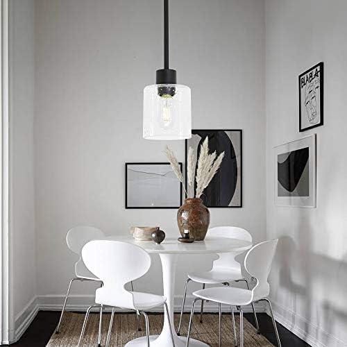 ELUZE One-Light Mini-Pendant Lighting, Black Finish with Clear Seedy Glass Shade Vintage Hanging Light Fixture for Kitchen Living Room Bedroom Hotels Hallway Shops Cafe Bar