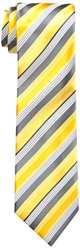 Geoffrey Beene Men's Doubtless Stripe Tie, Yellow, One (Yellow Stripe Tie)
