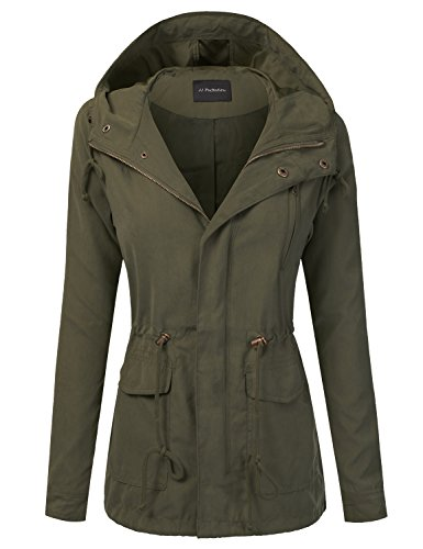 JJ Perfection Women's Woven Peach Skin Hooded Utility Jacket (S-3XL) Olive 3XL