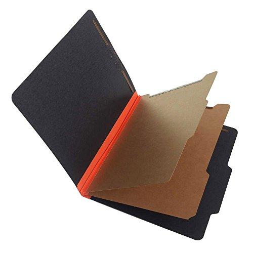 SJ Paper S62623 Match 25 Pt. Fusion Black Pressboard Classification Folders, 2/5 Cut ROC Top Tab, Letter Size, 2 Dividers, Orange Tyvek (Box of 15)