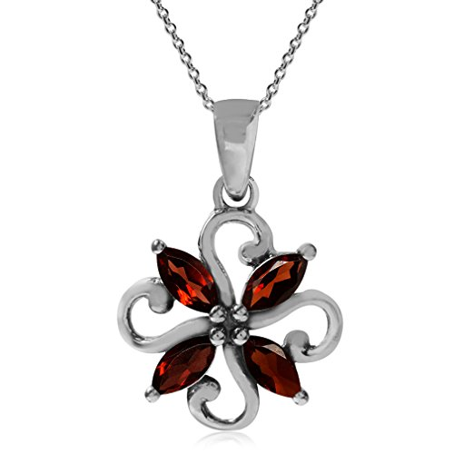 Natural Garnet 925 Sterling Silver Victorian Style Flower Pendant w/ 18 Inch Chain Necklace