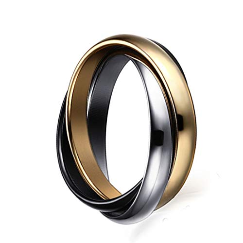 FOXI YOUTH 3MM Womens Stainless Steel Tri Color Interlocked Rolling Band Wedding Love Ring for Girl