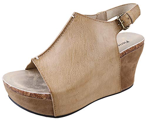 (Pierre Dumas Womens Slingback Wedge Shoes Nude 10)