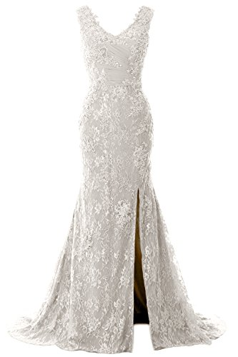 45b17cb20633 MACloth Women Mermaid V Neck Lace Wedding Formal Evening Gown Long Prom  Dress
