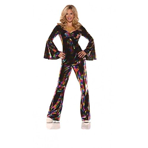 Women'S 60'S 70'S Retro Disco Diva Costume Rainbow Top Pants Dancing Fever Sm-Xl
