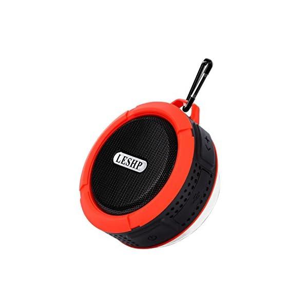 Haut-parleur Bluetooth leshp sans fil stéréo portable Musique Box (Basses puissantes, audio haute définition, IP66anti-éclaboussures, connexion USB pour portable à charges de plein air) 1