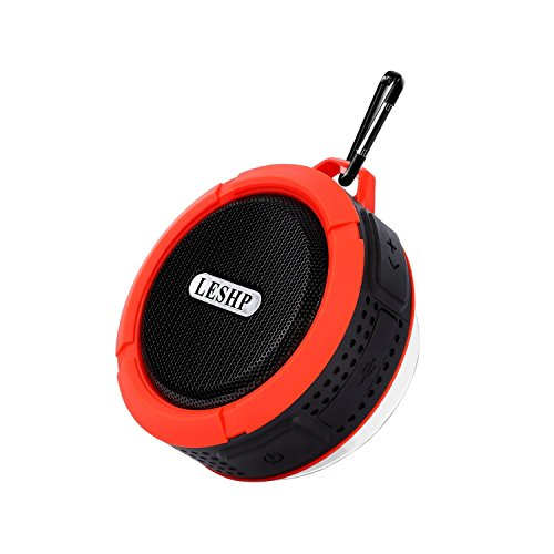 Bluetooth Lautsprecher LESHP kabellos tragbar Stereo Musikbox (starker Bass, High Definition Audio, IP66 Spritzwassergeschützt, USB-Anschluss für Handyaufladungen im Freien)