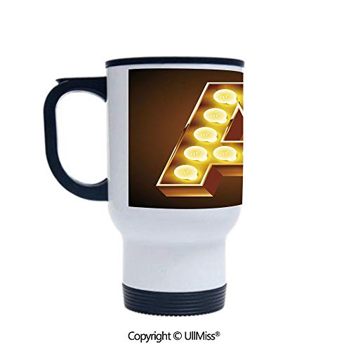 Stylish Stainless Steel Attractive And Distinctive Design 14OZ Travel Mug Cup The First Letter of the Alphabet Symbol Old Cinema Inspired Design Image,Caramel Yellow Black Suitable For Hot And Cold D