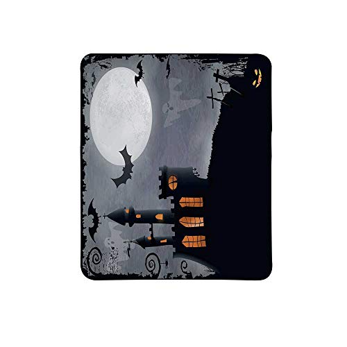 Vintage Halloween Non Slip Mouse Pad,Halloween Themed Asymmetric Caste with Scary Bats and Ghosts Full Moon for Home & Office,11