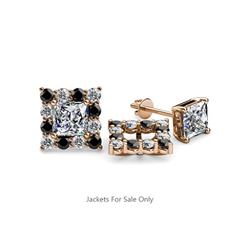 Black and White Diamond (SI2-I1,G-H) Halo Jacket for Princess Cut Stud Earrings 0.74 ct tw 14K Rose Gold