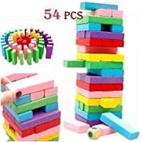 Happy GiftMart 54 Pcs Colored Jenga Wooden Tumbling Stacking Building Tower Blocks Mini Junior with Numbers Math and 1 Dice (54 Pcs Colored)