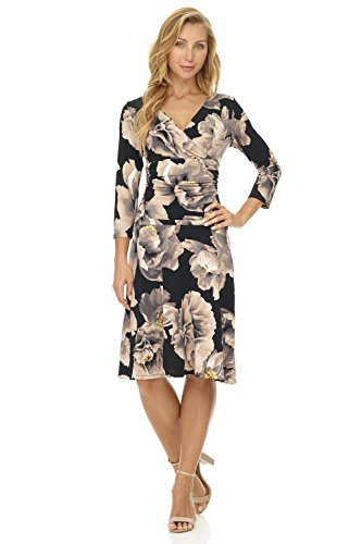 Rekucci Women's Slimming 3/4 Sleeve Fit-and-Flare Crossover Tummy Control Dress (18,Neutral - Sleeve 3 4 Wrap Plus Dress Size