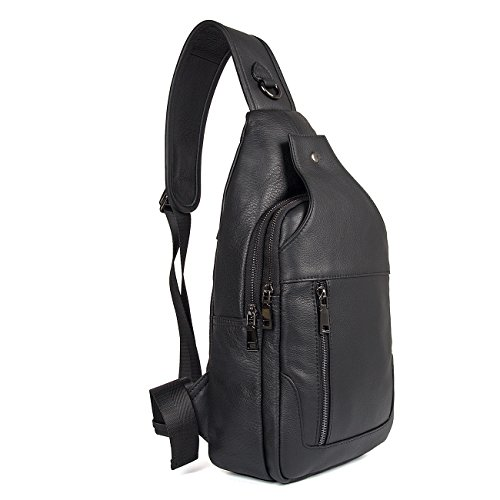 Texbo Genuine Full Grain Leather Body Sling Bag Travel Hiking Backpack - Leather Backpack Sling