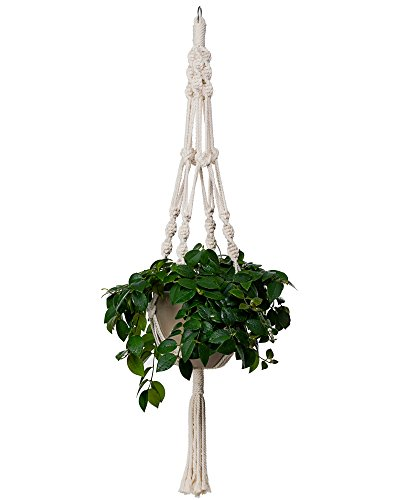 Bulky Plant Hanger Macrame Handmade Indoor Outdoor Decoration Hanging Planter Cotton Rope Basket 0.24in Thick Sturdy for Round & Square Flower Herbs Pots (No Pots No Plants) 46in, 4 Legs, 1 pcs