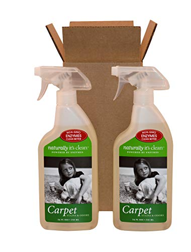 Organic Carpet Shampoo - 2-Pack 24oz Naturally It's Clean Carpet Spot-Treat; Stains&Odors Remover; Enzyme Cleaner Safely Cleans&deodorizes All Fabric Surfaces; Remove Tough Stains; Non-Toxic&All Natural, Pet Safe&Child Safe