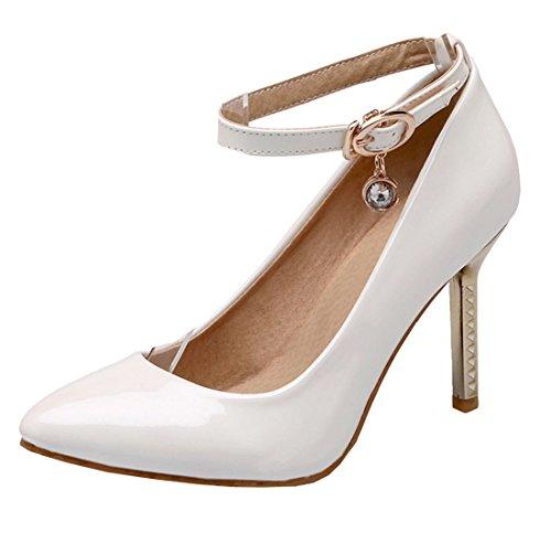 YE Damen Elegant High Heel Spitze Stiletto Lackleder Knöchelriemchen Pumps mit Strass und Schnallen 10cm Absatz Party Kleidschuhe Weiß
