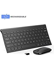 Wireless Keyboard and Mouse, Seenda Ultra Small Compact Low Profile Rechargeable Wireless Keyboard and Mouse Set with Number Pad for Windows(Standard UK Layout)