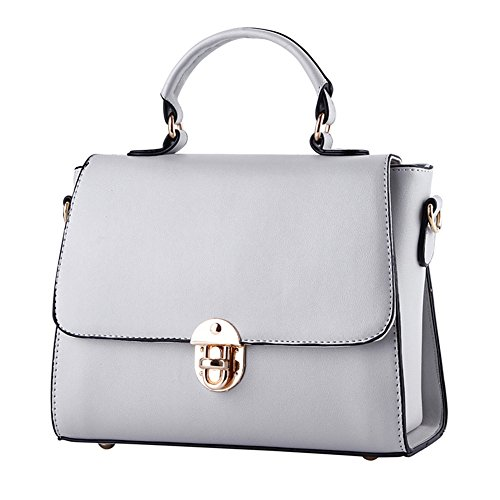 Women Tote Top new new Handbags for Bronze leather PU style Leather Shoulder Gray Women middle women handbags Bags PU Ladies Handle fashion bag w0nxggAzH
