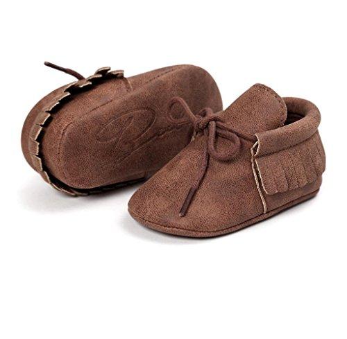Zapatos de bebé,Tongshi Bebé Cuna Borlas Vendaje Suave único Niño Zapatillas Casual Zapatos Café