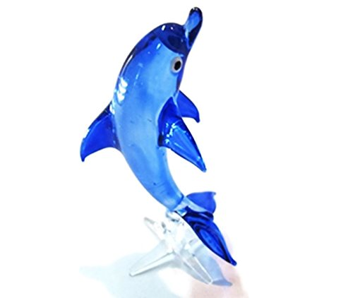Craft Collectibl?e MINIATURE HAND BLOWN GLASS Blue Dolphin 01 FIGURINE Animals by ChangThai Design (Miniature Hand Blown Glass)
