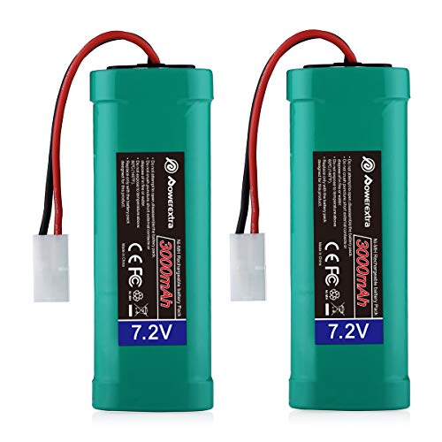 Powerextra 2 Pack 7.2V 3000mAh High Capacity 6-Cell NiMH Battery Packs with Standard Tamiya Connectors Compatiable RC Cars, RC Truck, RC Airplane, RC Helicopter, RC Boat (Nimh Rc Battery)