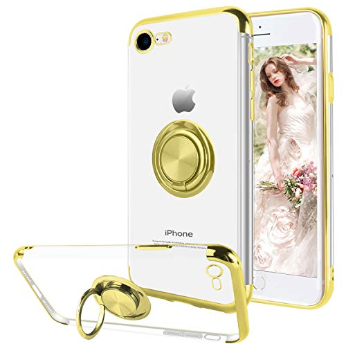 (Ownest Compatible with iPhone 7 Case, iPhone 8 Case with Built-in 360 Rotatable Ring Kickstand Fit Magnetic Car Mount and Clear Transparent Soft TPU for iPhone 7/iPhone 8-(Gold))