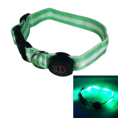 "Some Few LED Dog Collar (Green), 13"" - 20"" Length, 1"" Width"