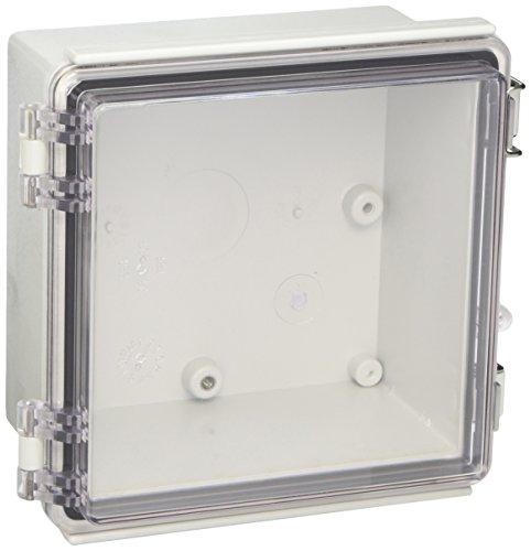 BUD Industries PTQ-11046-C Pc 10Percentfiberglass Hinged Enclosure, Clear Cover Ip67, Grey ()