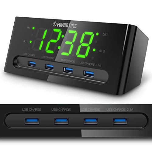 LED Alarm Clock with usb charger - 4 USB Port for iPhone/iPad/iPod/Android Phone Tablets. Hotel Commercial Grade Bedside Table Clock by BEARE