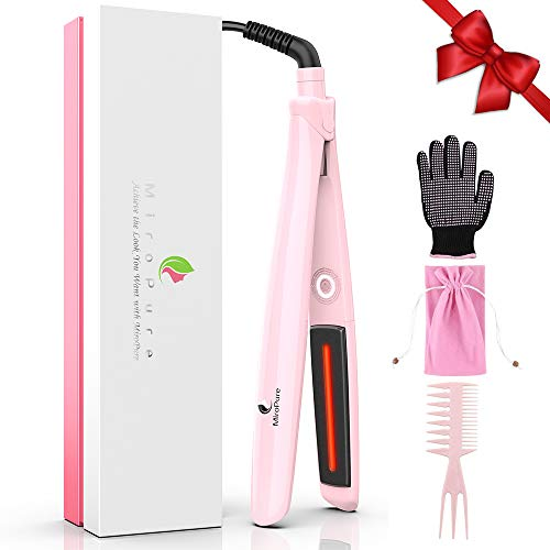 MiroPure 2-in-1 Ceramic Flat Iron Hair Straightener with Infrared Heat Technology, Suitable for All Hair Types, Making Hair Shiny and Silky