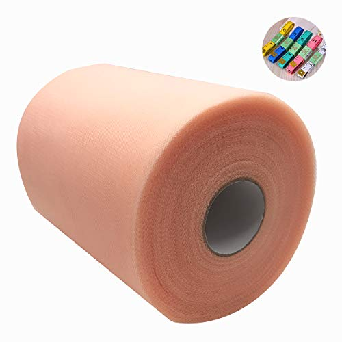 Saim Tulle Rolls 6 Inch x 100 Yards (300 Feet) Tulle Fabric Spool Table Tutu Skirt Dress Chair Sash Bow Decoration with Body Measuring Ruler for Wedding Party Festival DIY ()