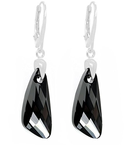 Royal Crystals Sterling Silver Leverback Angel Wings Drop and Dangle Earrings (Black)