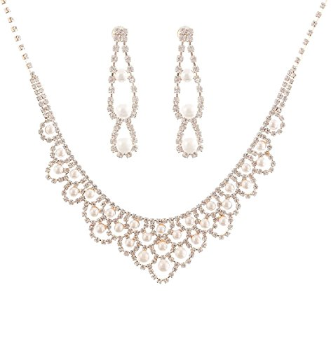 NLCAC Nobel Crystal Pearl Jewelry Set Women Necklace and TearDrop Earrings Set for Wedding - Set Pearls Necklace Gold