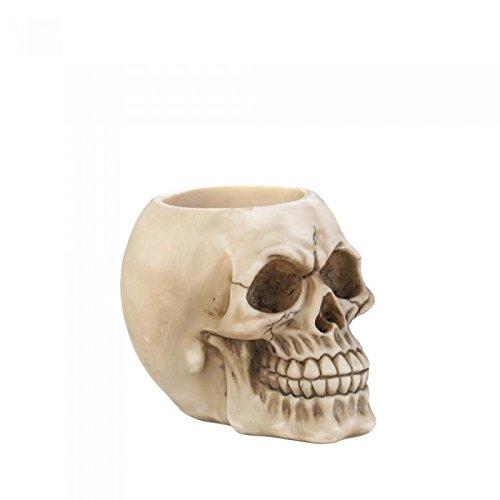 (Zings & Thingz 57072975 Grinning Skull Pen Holder, Cream)