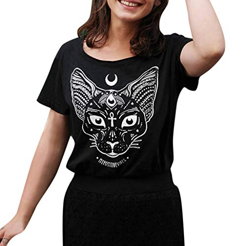 (HimTak New Women's Gothic Moon Phase Witchcraft Cat Print Punk Short Sleeve Tops Couples Casual Personality Wild)