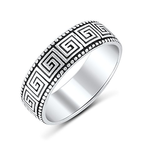 Sterling Silver Greek Key Design Ring (7) Sterling Key Ring